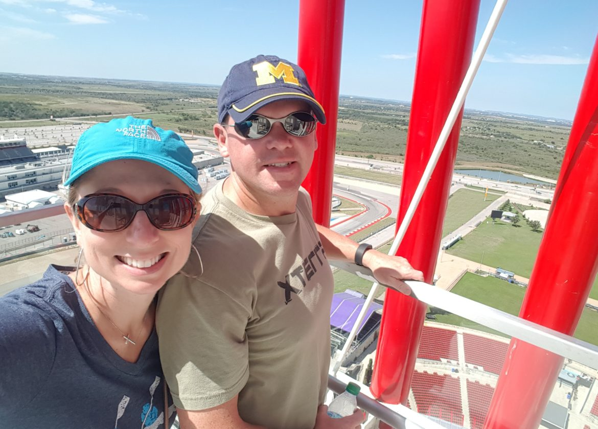 Austin Food & Racing - Michael and Denise on the top of the tower at the racetrack