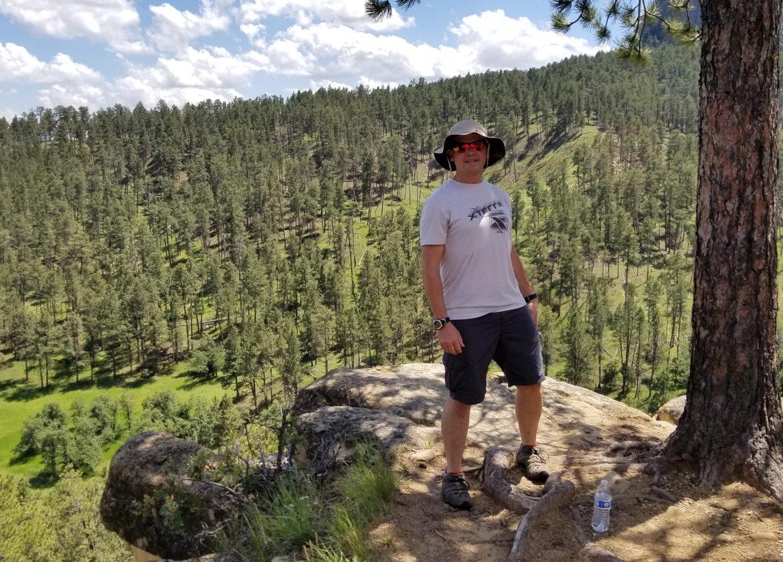 Devil's Tower - Michael hiking on the Joyner Trail